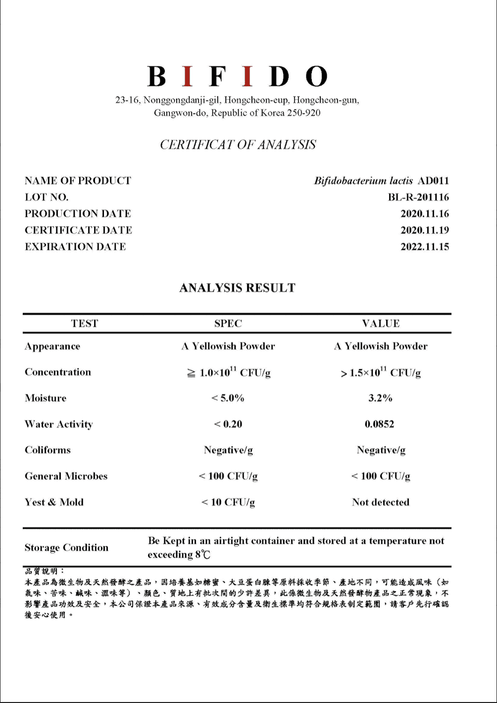 COA原料成分證明